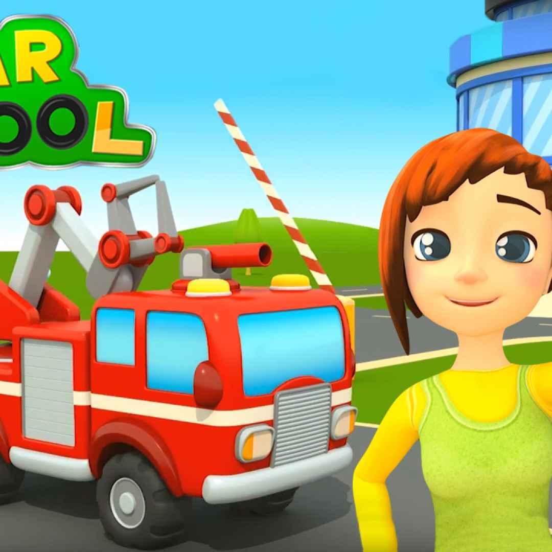 Cartoni animati per bambini car school a scuola con i