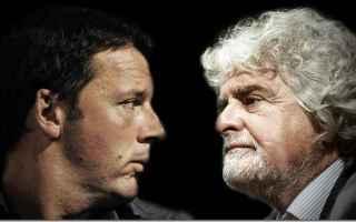 c'è stato un duro botta e risposta tra il leader M5s Beppe Grillo e l'ex premier Matteo Renzi p