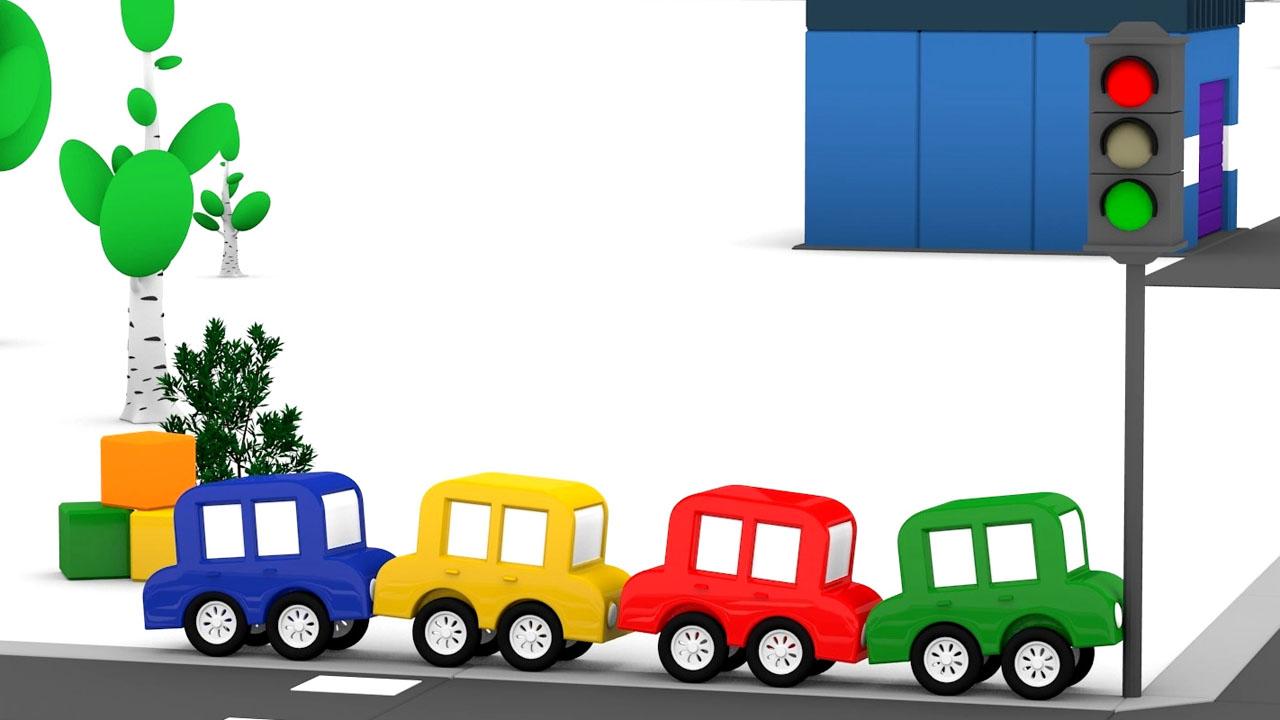 Le macchinine colorate aggiustano il semaforo cartoni