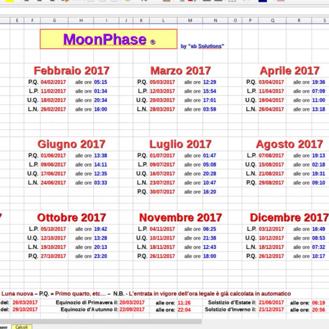 Calendario Lunare Dicembre 2017.Un Calendario Perpetuo Che Mostra Le Fasi Lunari E Gli