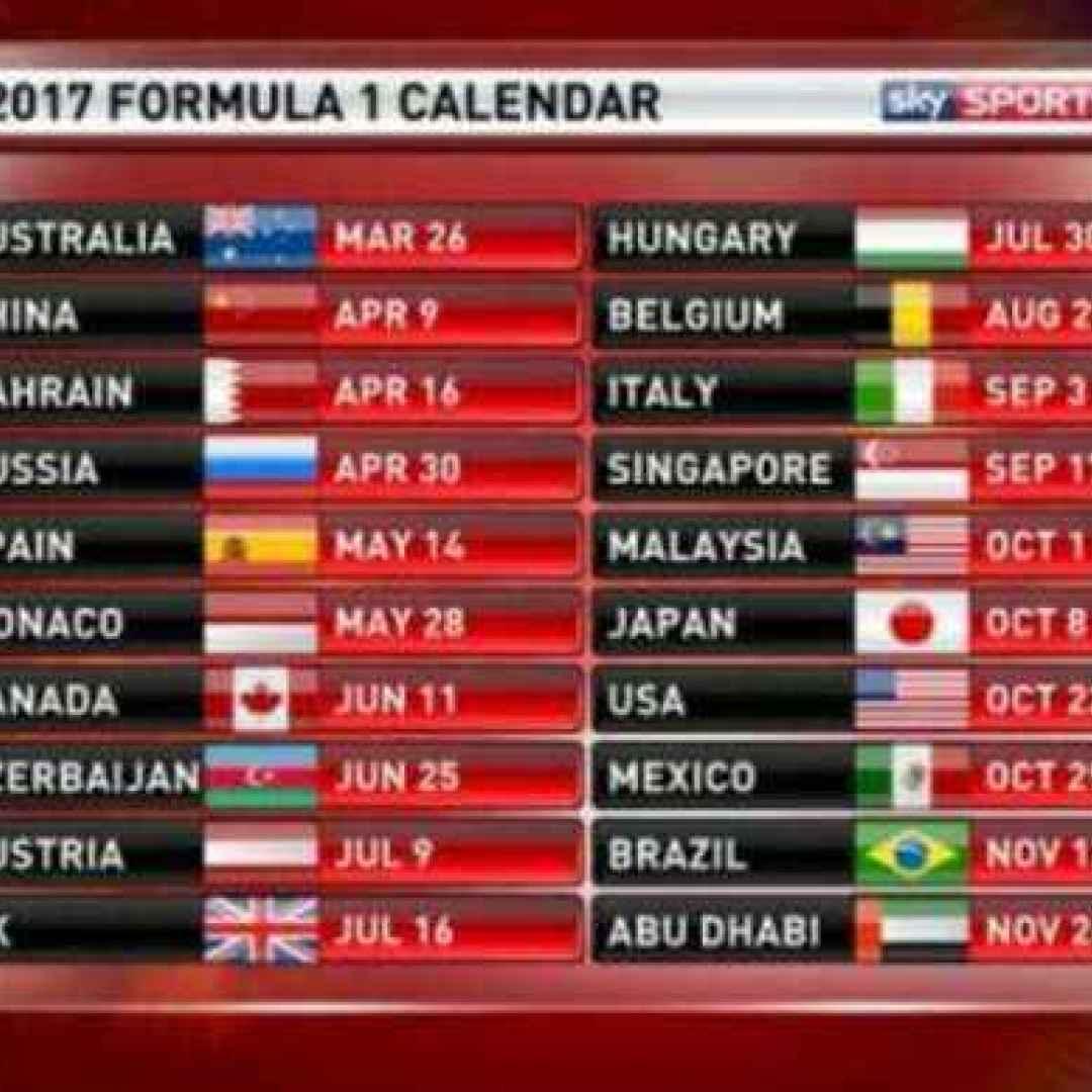 Calendario F1.F1 Calendario 2017 E Orari Tv Sky E Rai Di Tutti I Gp F1