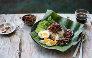 Di solito il nasi lemak è servito con fette di cetriolo, acciughe fritte, arachidi arrostite, uovo