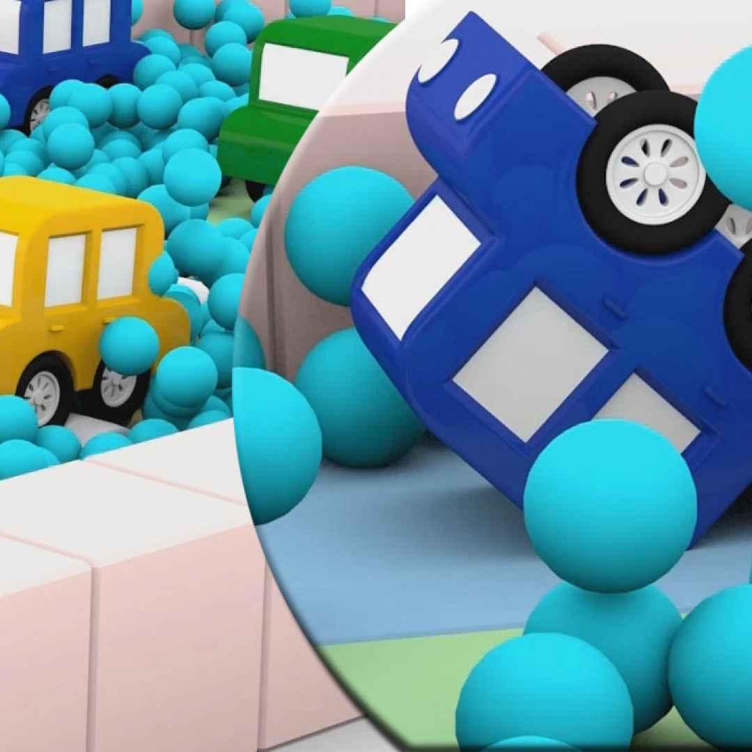 Una gara ad ostacoli per le macchinine colorate cartoni