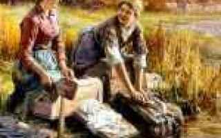 Arte: antichi mestieri  fiume  lavandaia  arte