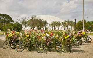 Ciclismo: arte  performance  origami  fiori