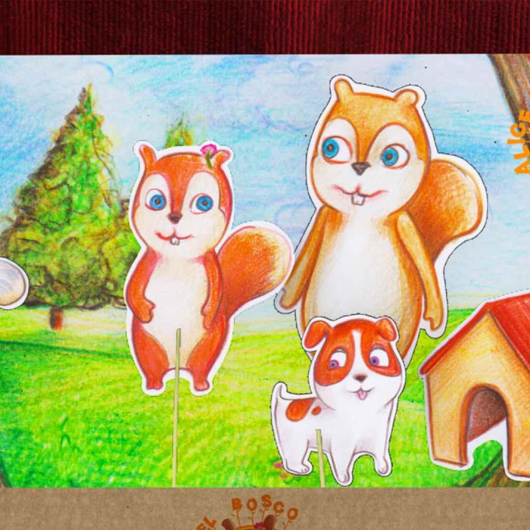 Mini cartone animato frutto della forcella fattoria degli animali