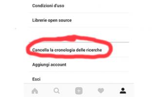 cancellare cronologia instagram