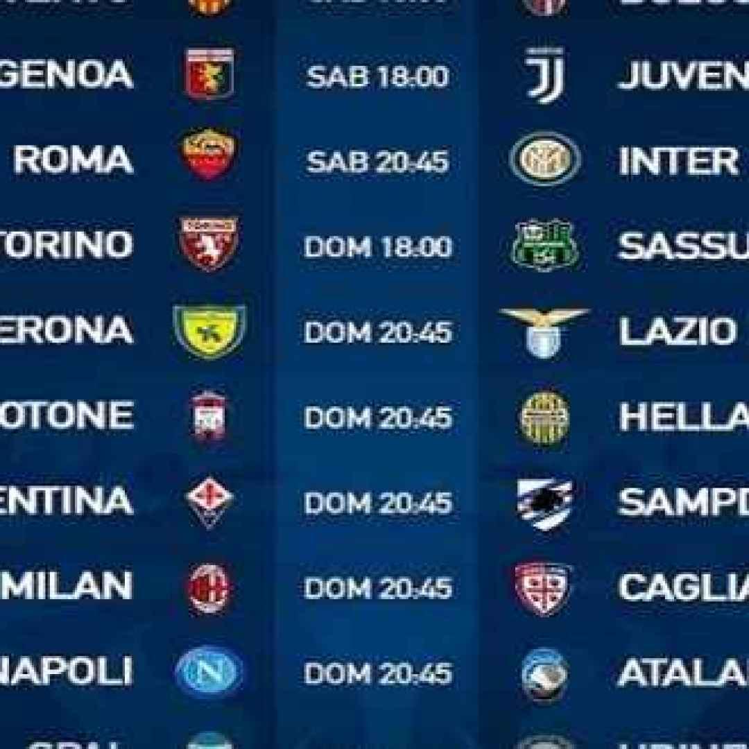 Calendario Serie A Seconda Giornata.2 Giornata Serie A Guarda Subito Orari E Calendario Serie A