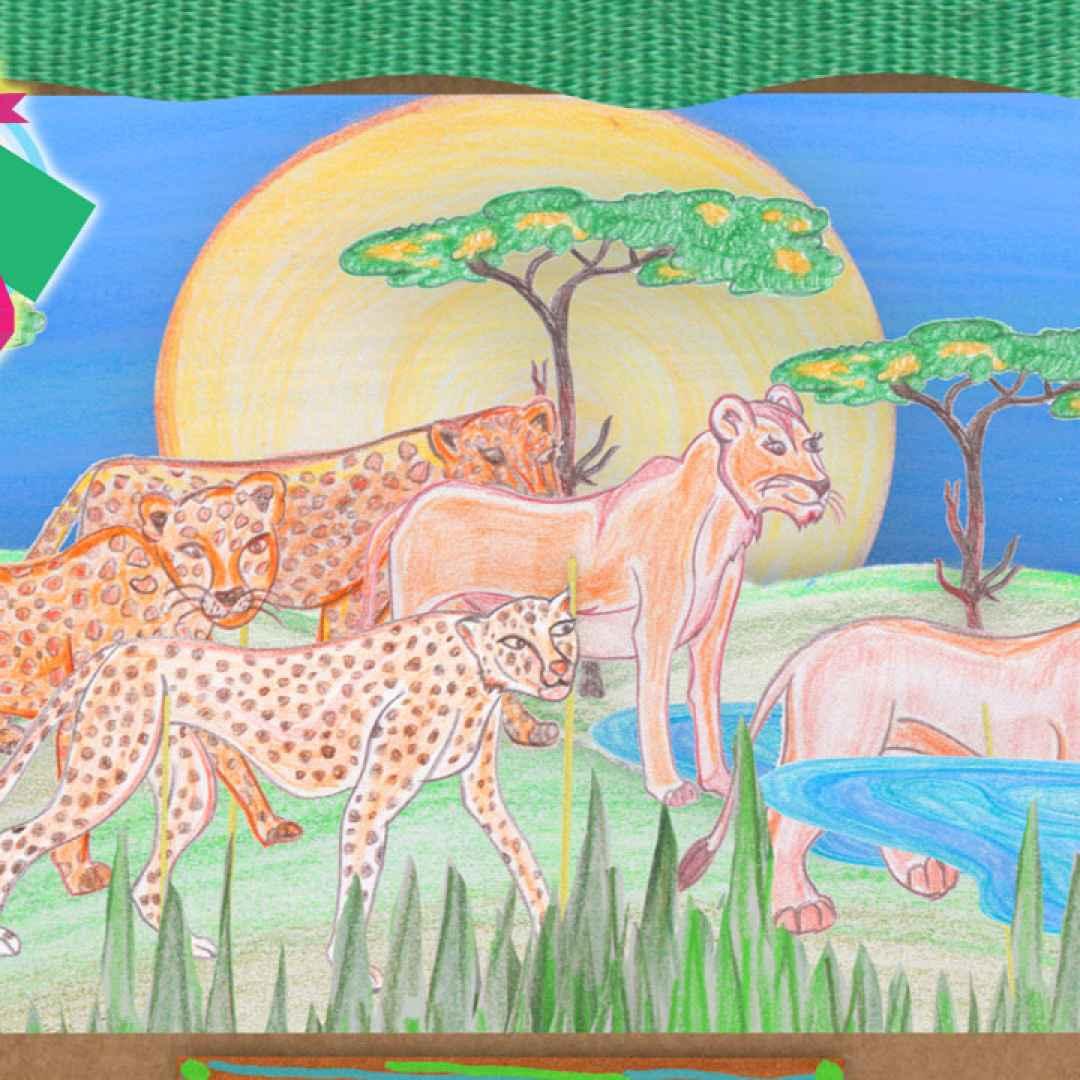 Safari con la cucina dei piccoli cartoni animati