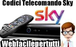 Televisione: codici telecomandi sky
