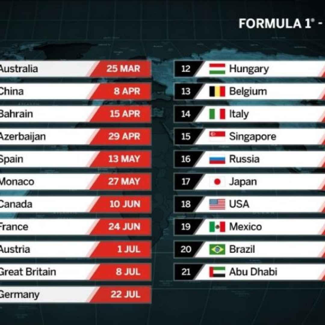 Calendario Formula1.F1 Ecco Il Calendario Del 2018 Quando E Come Vederla Formula 1