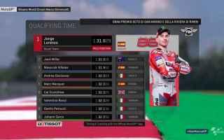Show di Jorge Lorenzo, nelle qualifiche del Gran Premio di San Marino, che conquista la terza pole s