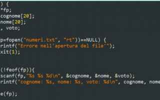 Programmazione: Funzione feof per conoscere dove si trova il file pointer